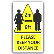 1 x Please Keep Your Distance 2m 6ft Social Distancing Sticker Sign 75x126mm Notice Safety Apart FC